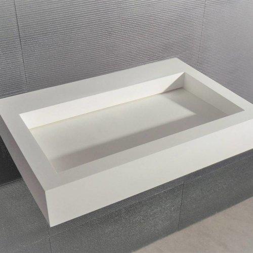 Opbouw Waskom Ideavit Solisquare 60x40x10 cm Ingebouwde Afvoer Solid Surface Mat Wit