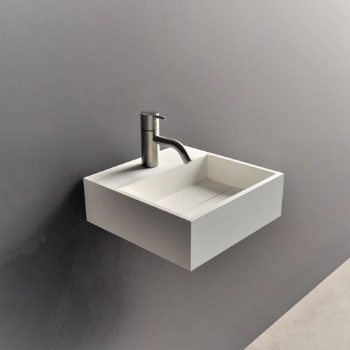 Fontein Ideavit Solidcube 30x30x10 cm Solid Surface Mat Wit