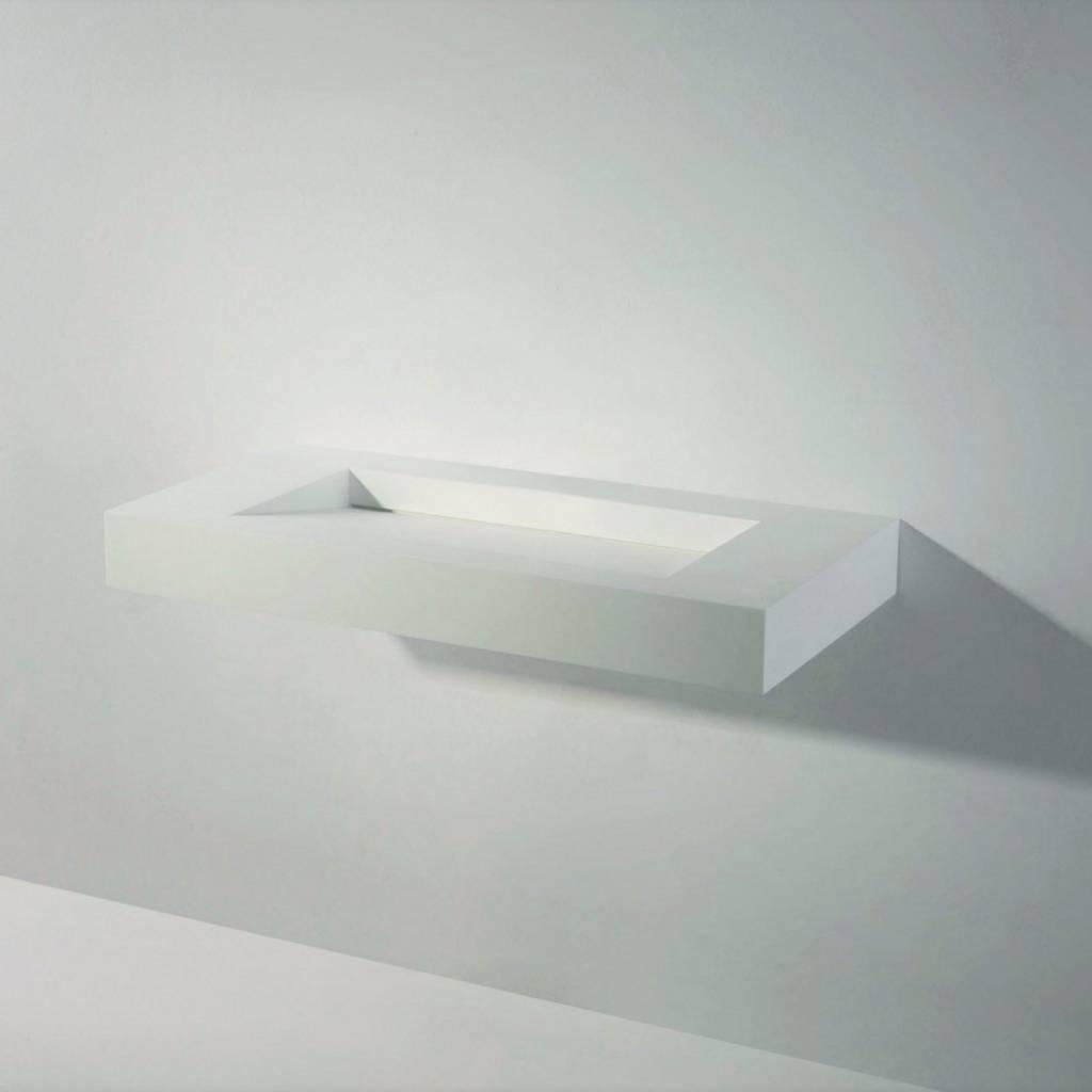 Wastafel Ideavit Solidsquare 90x46x10 cm Solid Surface Mat Wit kopen met korting