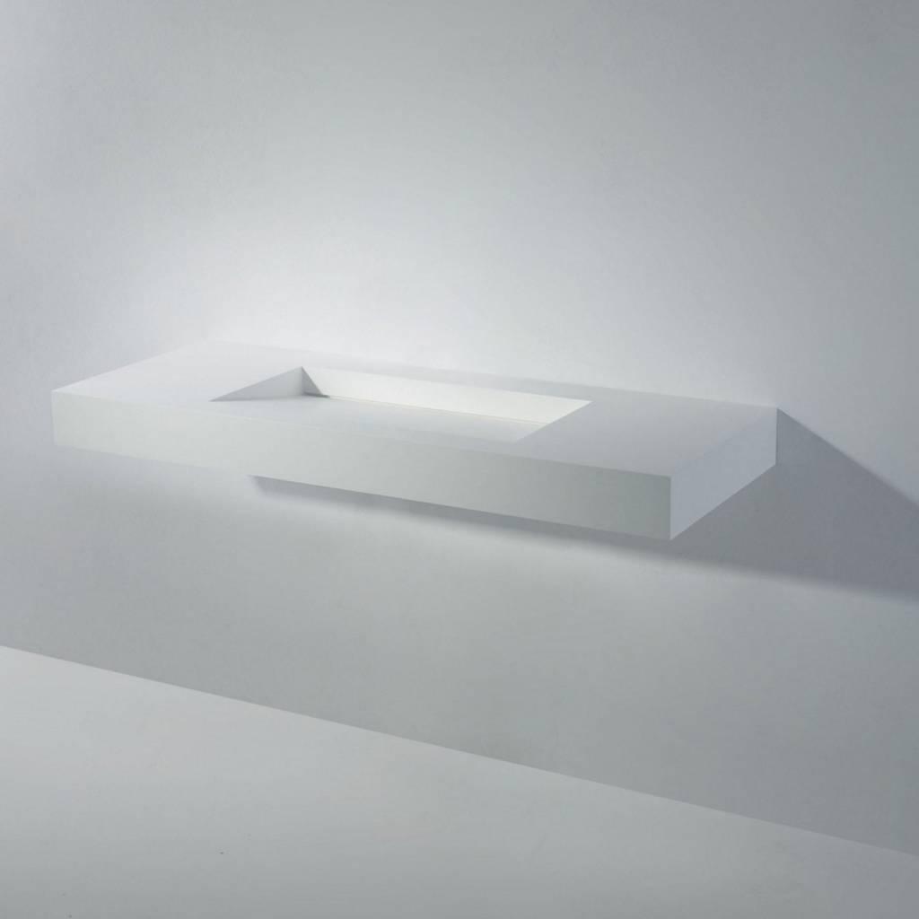 Wastafel Ideavit Solidsquare 120x46x10 cm Solid Surface Mat Wit kopen met korting