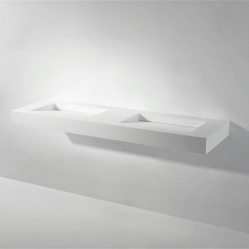 Wastafel Dubbel Ideavit Solidsquare 150x46x10 cm Solid Surface Mat Wit kopen met korting