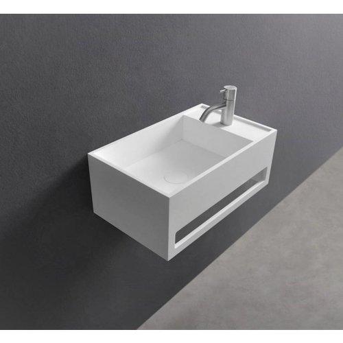 Wastafel Ideavit Solidcube-TB 50x30x20 cm Inclusief Handdoekhouder Solid Surface Mat Wit