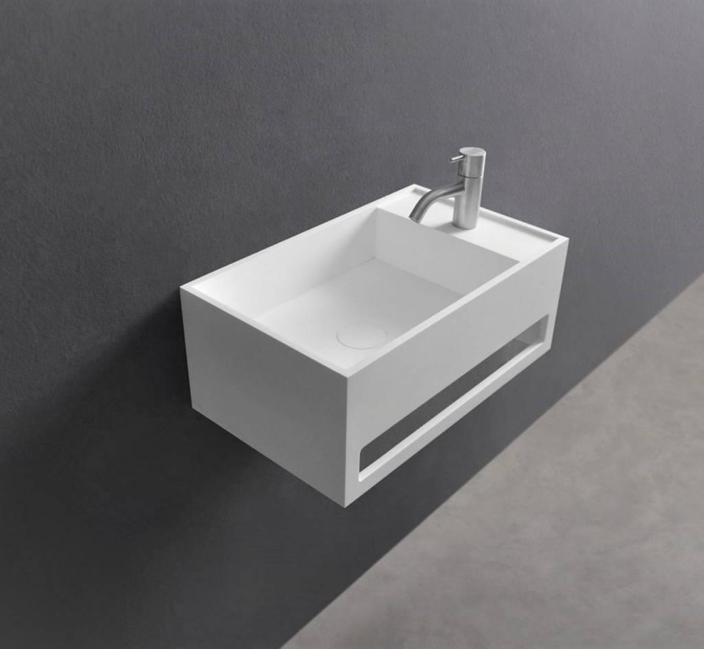 Wastafel Ideavit Solidcube-TB 50x30x20 cm Inclusief Handdoekhouder Solid Surface Mat Wit kopen met korting