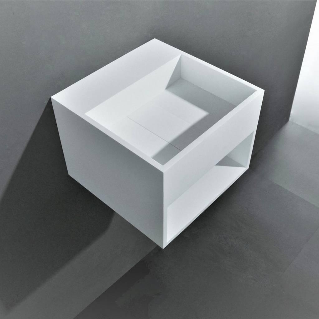 Wastafel Ideavit Solidcube 30x30x28 cm Solid Surface Mat Wit kopen met korting