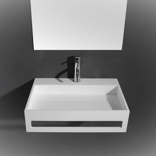 Wastafel Ideavit Solidpure 60x40x15 cm Inclusief Handdoekhouder Solid Surface Mat Wit