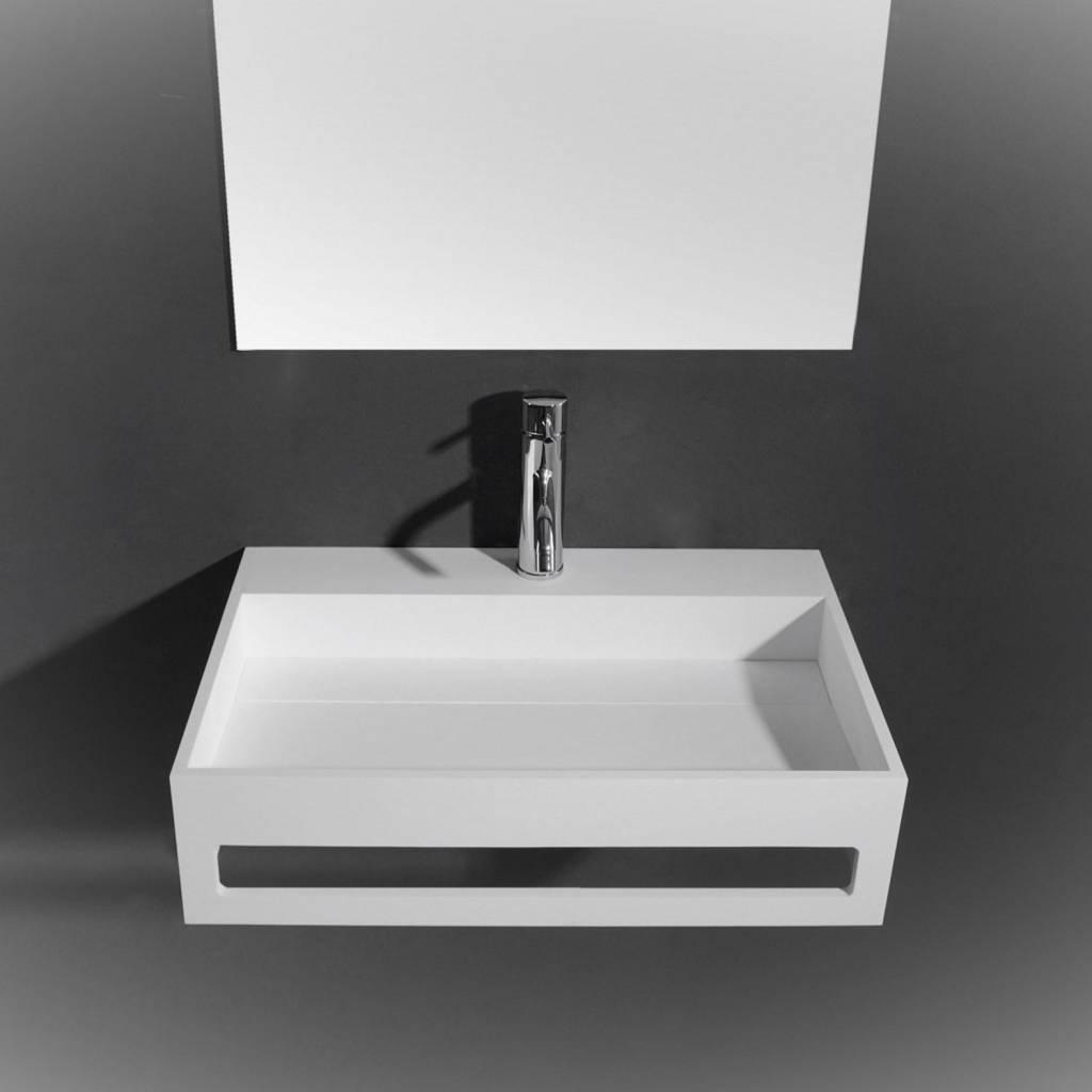 Wastafel Ideavit Solidpure 60x40x15 cm Inclusief Handdoekhouder Solid Surface Mat Wit kopen met korting