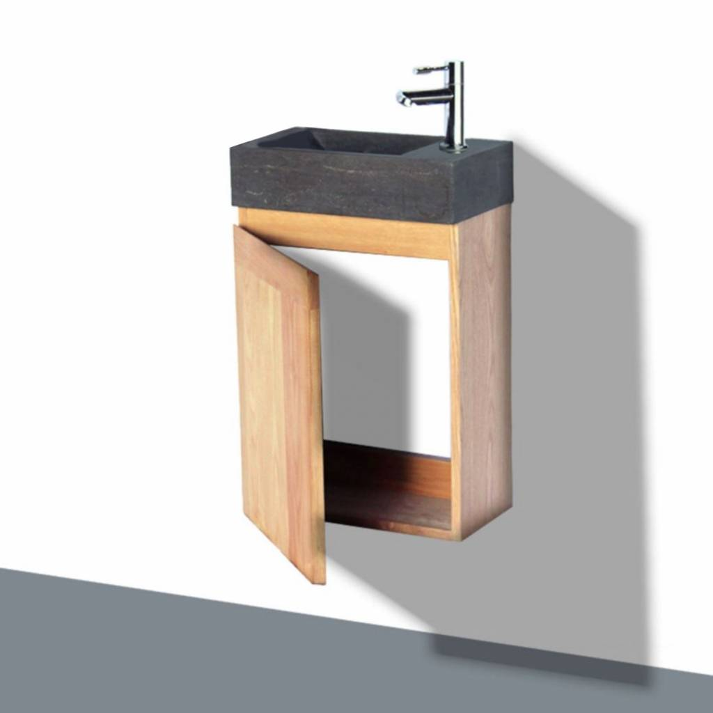 Fonteinkast Sanilux Wood Natuursteen Softclose Links draaiend 41x23x70 cm Kraangat Rechts Sanilux