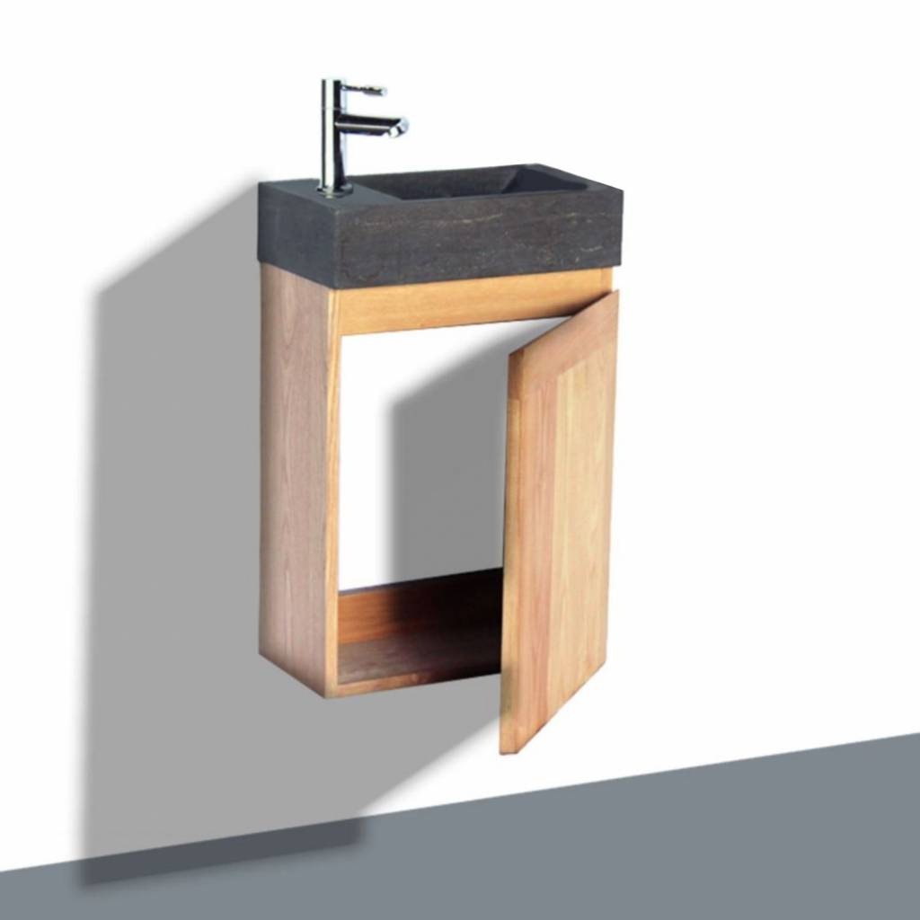 Fonteinkast Sanilux Wood Natuursteen Softclose Rechts draaiend 41x23x70 cm Kraangat Links Sanilux