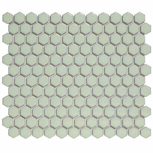 Mozaïektegel The Mosaic Factory Barcelona Hexagon 23x26 mm Porselein Lichtgroen