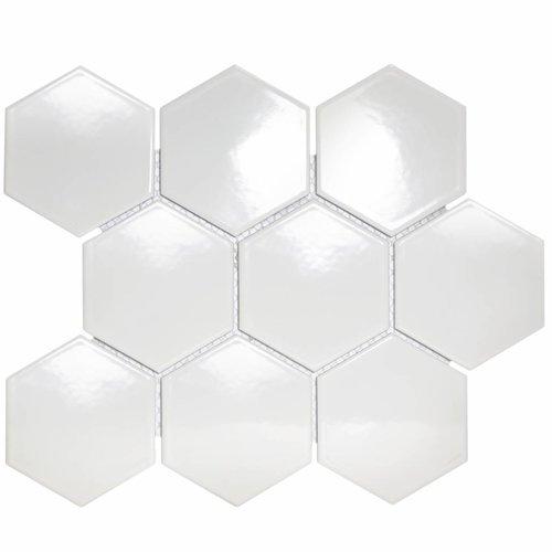 Mozaïektegel The Mosaic Factory Barcelona Hexagon 95x110 mm Porselein Wit