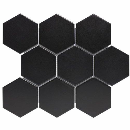 Mozaïektegel The Mosaic Factory Barcelona Hexagon 95x110 mm Porselein Mat Zwart