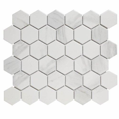 Mozaïektegel The Mosaic Factory Barcelona Hexagon 51x59 mm Carrara Wit