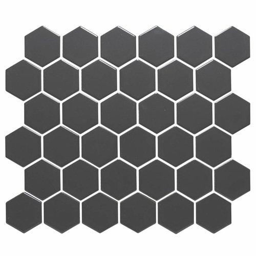 Mozaïektegel The Mosaic Factory Barcelona Hexagon 51x59 mm Donkergrijs