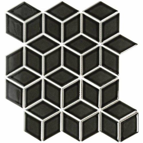Mozaïektegel The Mosaic Factory Paris Cubic 48x81 mm Glanzend Porselein Zwart