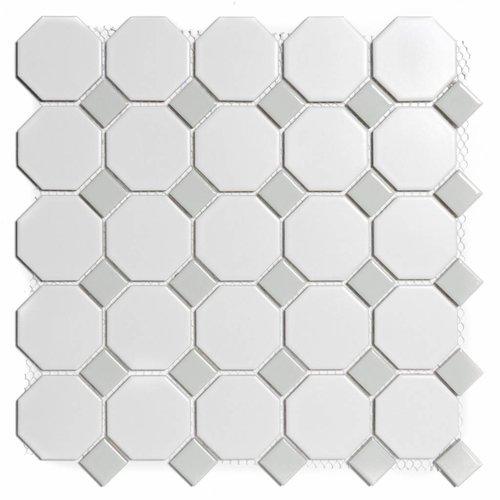 Mozaïektegel The Mosaic Factory Paris Octagon 56x56 en 23x23 mm Porselein Wit/Grijs