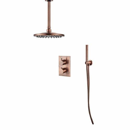Inbouw Regendouche Set BWS 30 cm met Plafondarm Geborsteld Koper