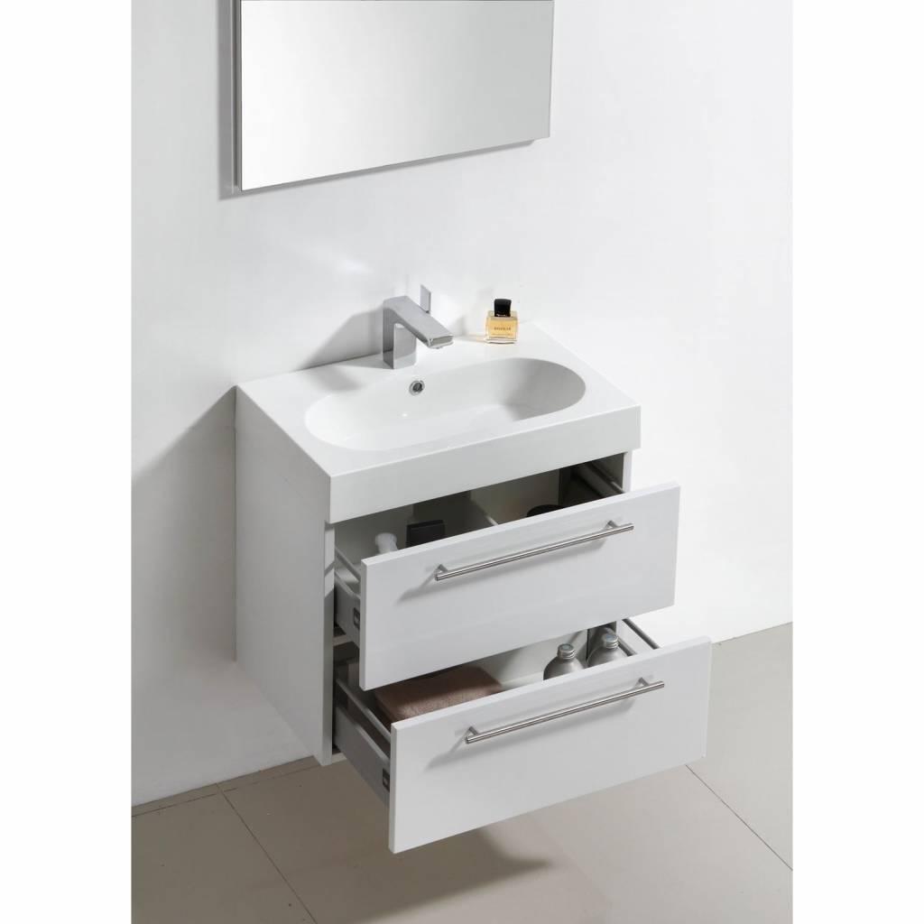 Sanilux badkamermeubel met spiegel met spiegel Compactline 60x38x50 cm - badkamermeubel met spiegel met spiegel Compactline 60x38x50 cm Hoogglans Wit