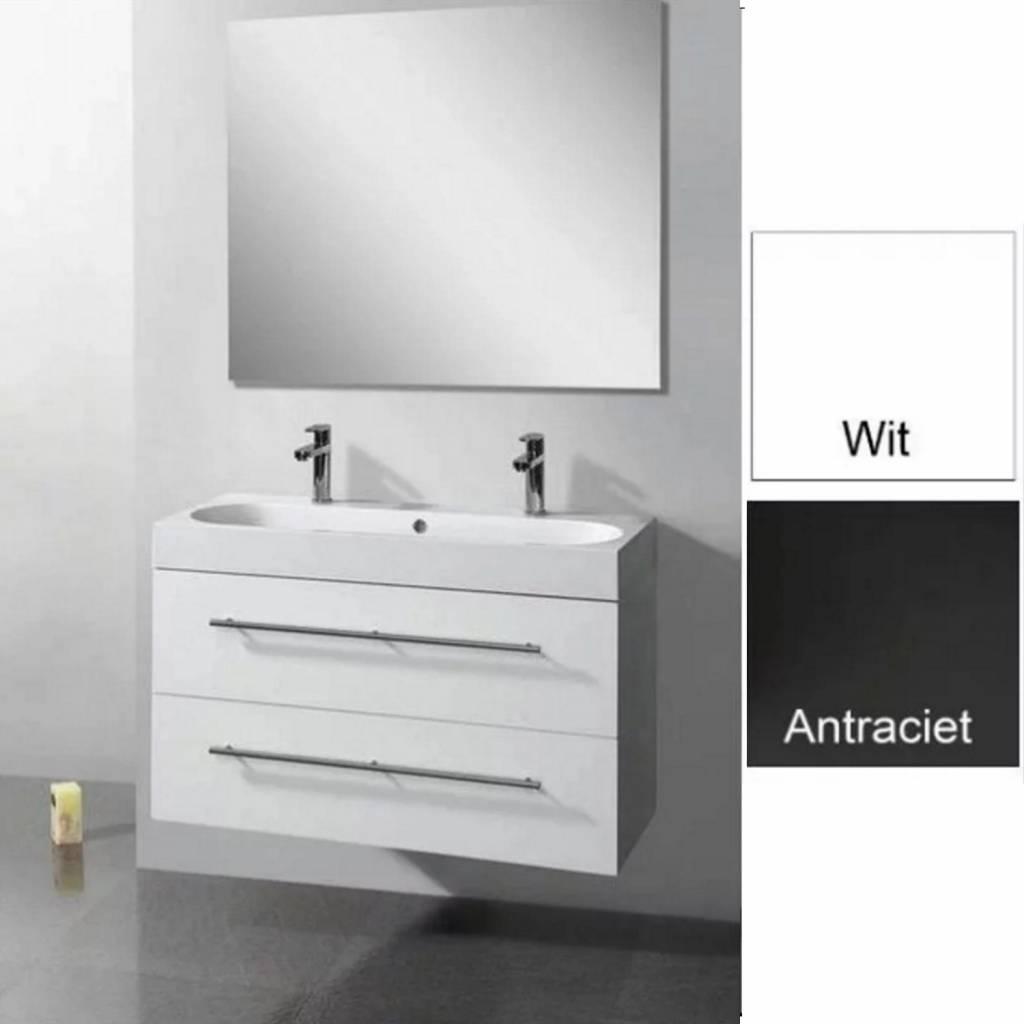 Sanilux badkamermeubel met spiegel met spiegel Compactline 80x38x50 cm - badkamermeubel met spiegel met spiegel Compactline 80x38x50 cm Hoogglans Wit