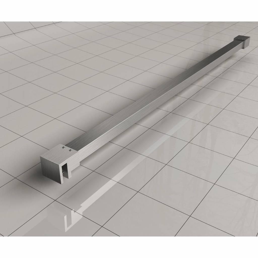Wiesbaden Slim profielset+stabilisatiestang 120cm geborsteld staal