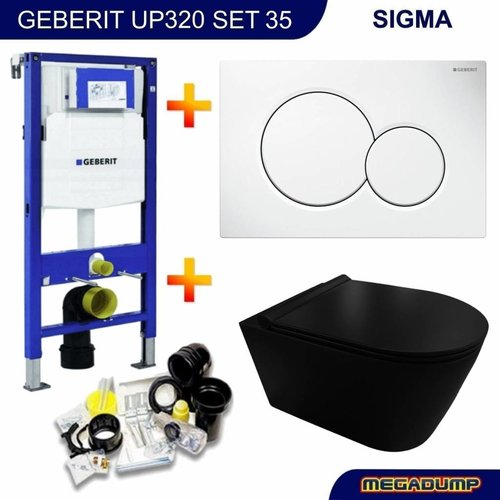 UP320 Toiletset 35 Civita Black Rimless Mat Zwart Met bril En Drukplaat