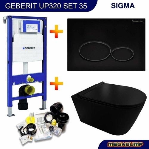 UP320 Toiletset 35 Civita Black Rimless Mat Zwart Met Mat Zwarte Drukplaat