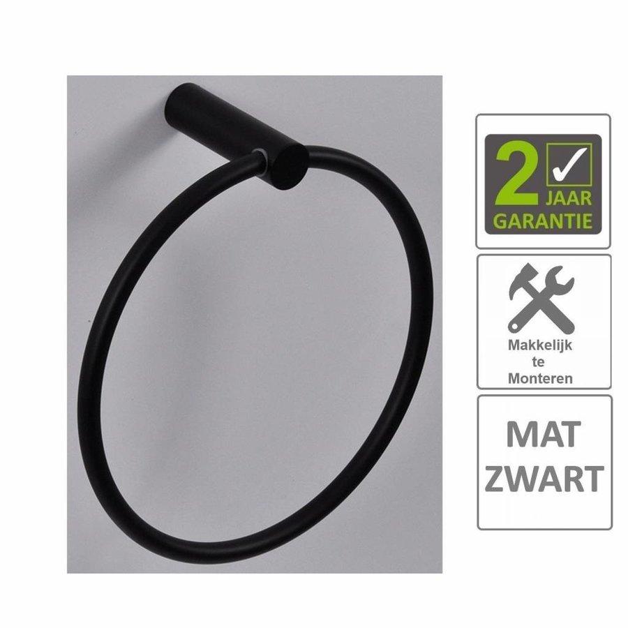 AQS Handdoekring Mia Rond Mat Zwart
