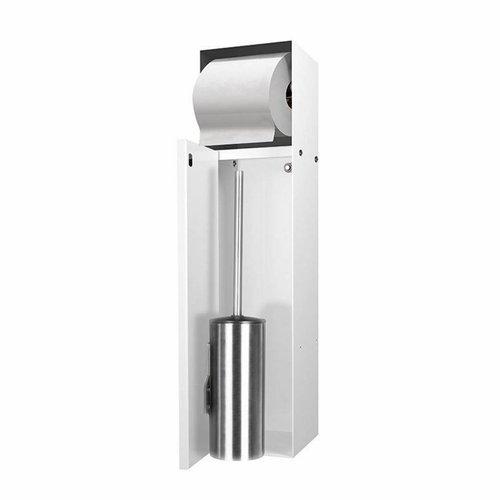 Inbouw Toiletborstelhouder met Toiletrolhouder LoooX Betegelbaar RVS Wit CL9