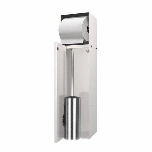 Inbouw Toiletborstelhouder met Toiletrolhouder LoooX Betegelbaar RVS Creme CL9