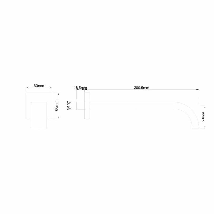 """AQS Inbouwuitloop Vierkant 26cm 1/2"""" Mat Zwart"""