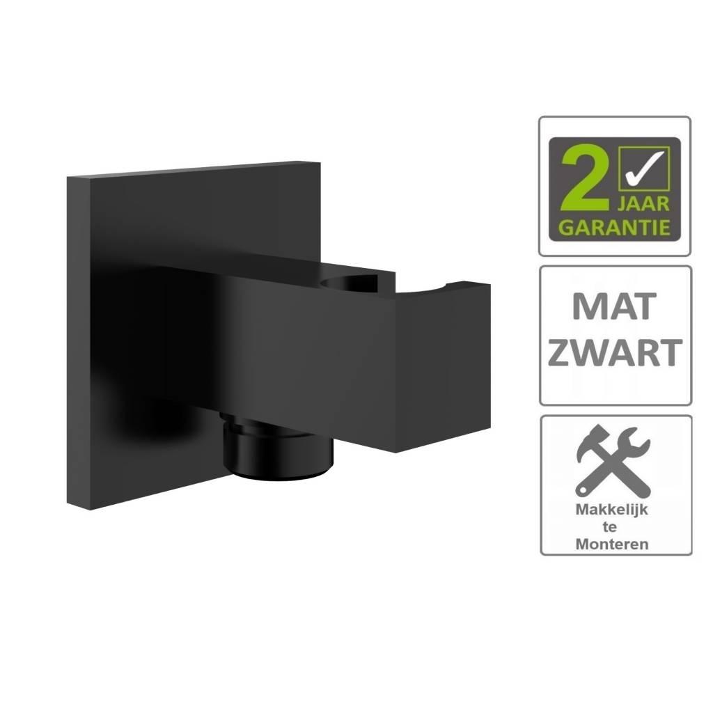 AQS Doucheaansluiting Luxe Vierkant Met Opsteek 1/2 Messing Mat Zwart