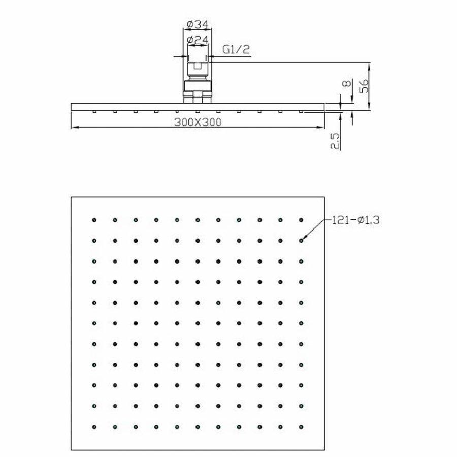 AQS Hoofddouche Luxe Vierkant 30x30 cm Mat Zwart