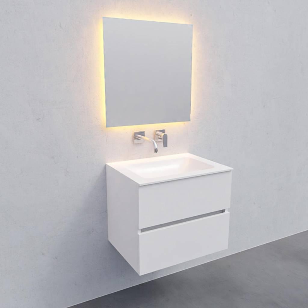 badkamermeubel met spiegel Solid Surface AQS Oslo 60x46 cm Mat Wit Boss & Wessing