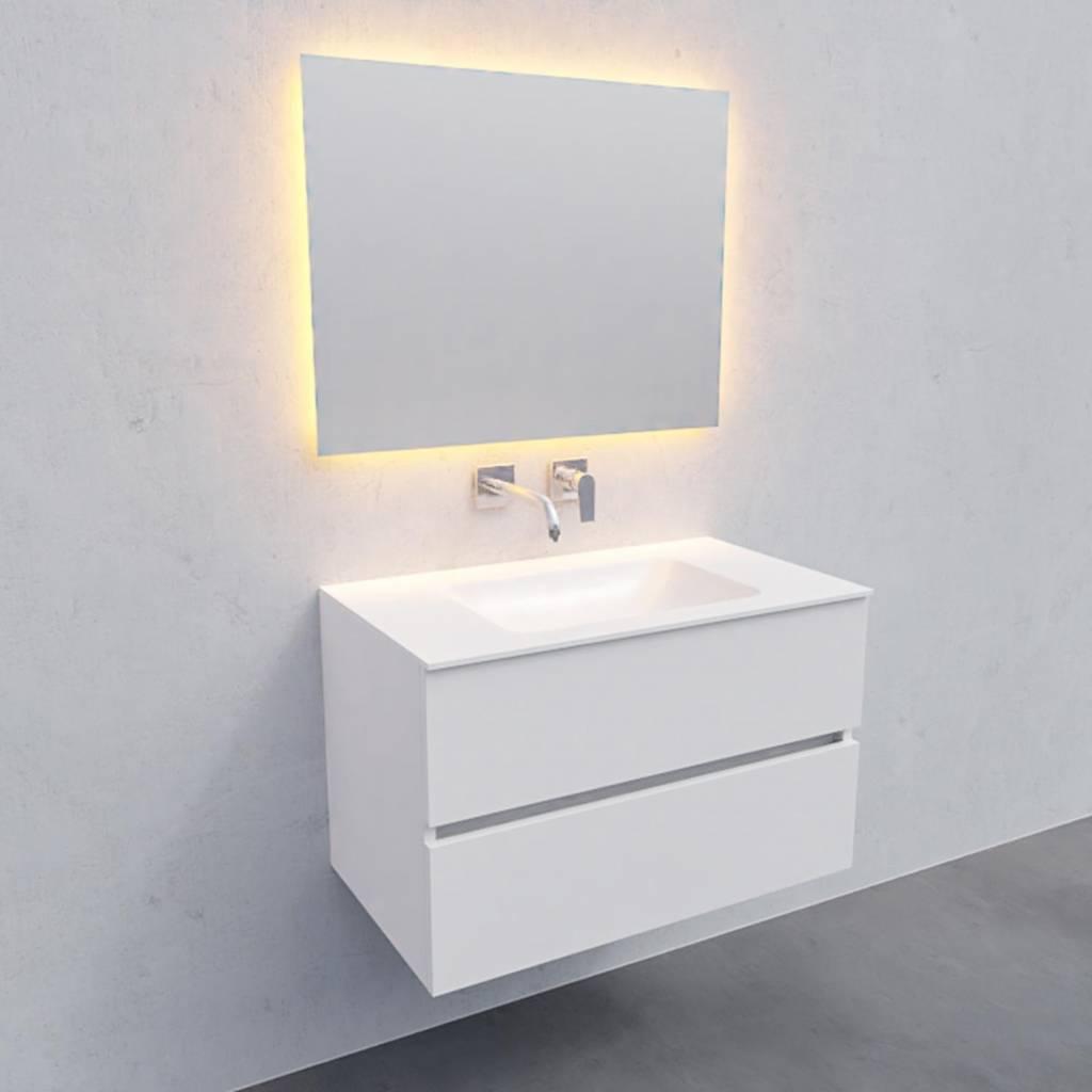badkamermeubel met spiegel Solid Surface AQS Oslo 80x46 cm Mat Wit Boss & Wessing