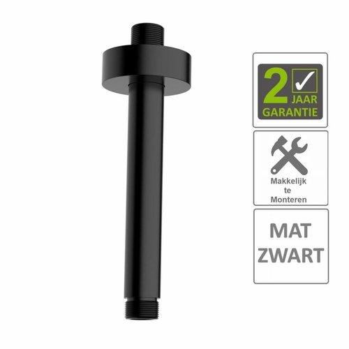 AQS Douche-Arm Luxe Rond Plafondbevestiging 15 cm Mat Zwart