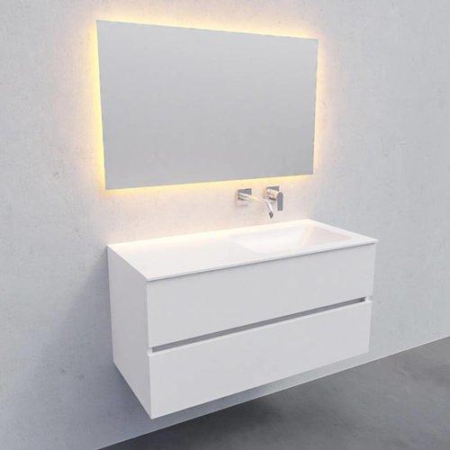 Badkamermeubel Solid Surface AQS Oslo 100x46 cm Rechts Mat Wit (zonder kraangaten)