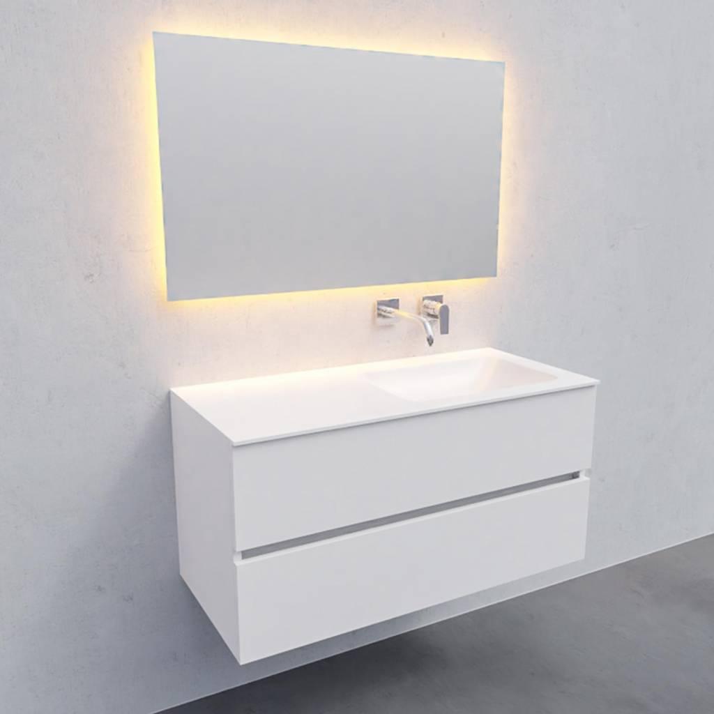 badkamermeubel met spiegel Solid Surface AQS Oslo 100x46 cm Rechts Mat Wit Boss & Wessing