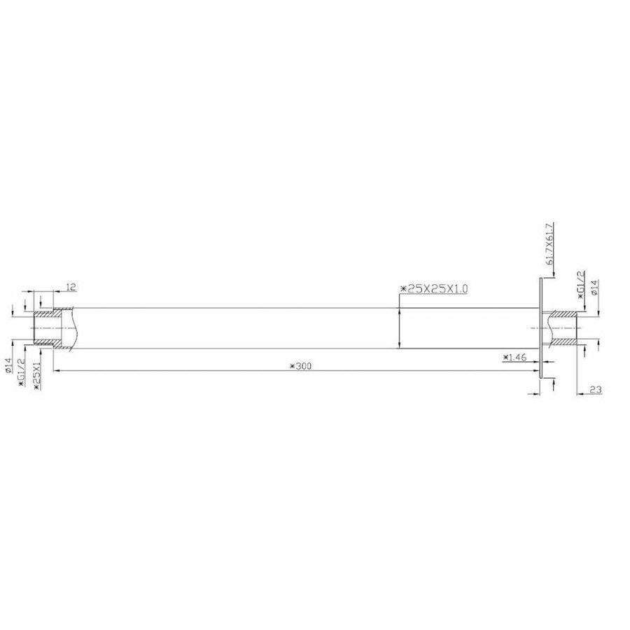 AQS Douche-Arm Luxe Vierkant Plafondbevestiging 30 cm Mat Zwart
