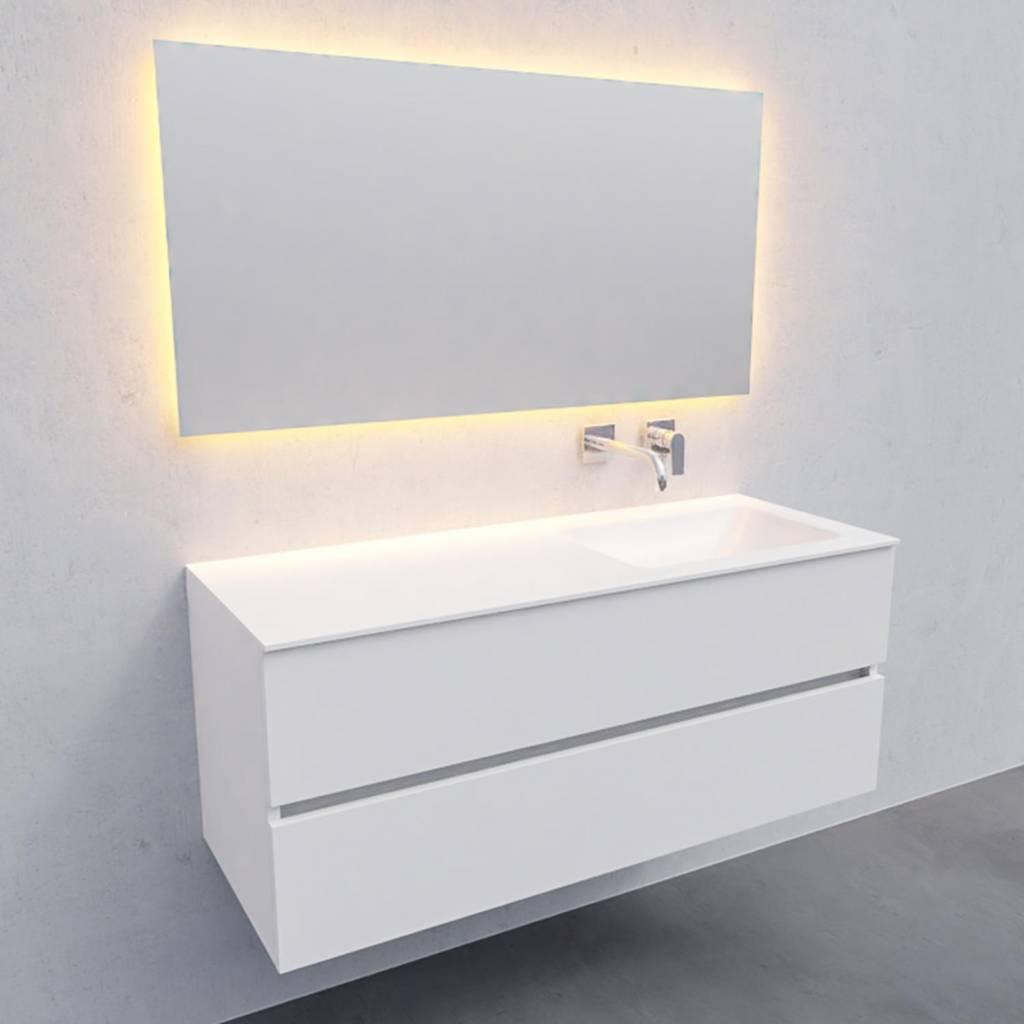 badkamermeubel met spiegel Solid Surface AQS Oslo 120x46 cm Rechts Mat Wit Boss & Wessing