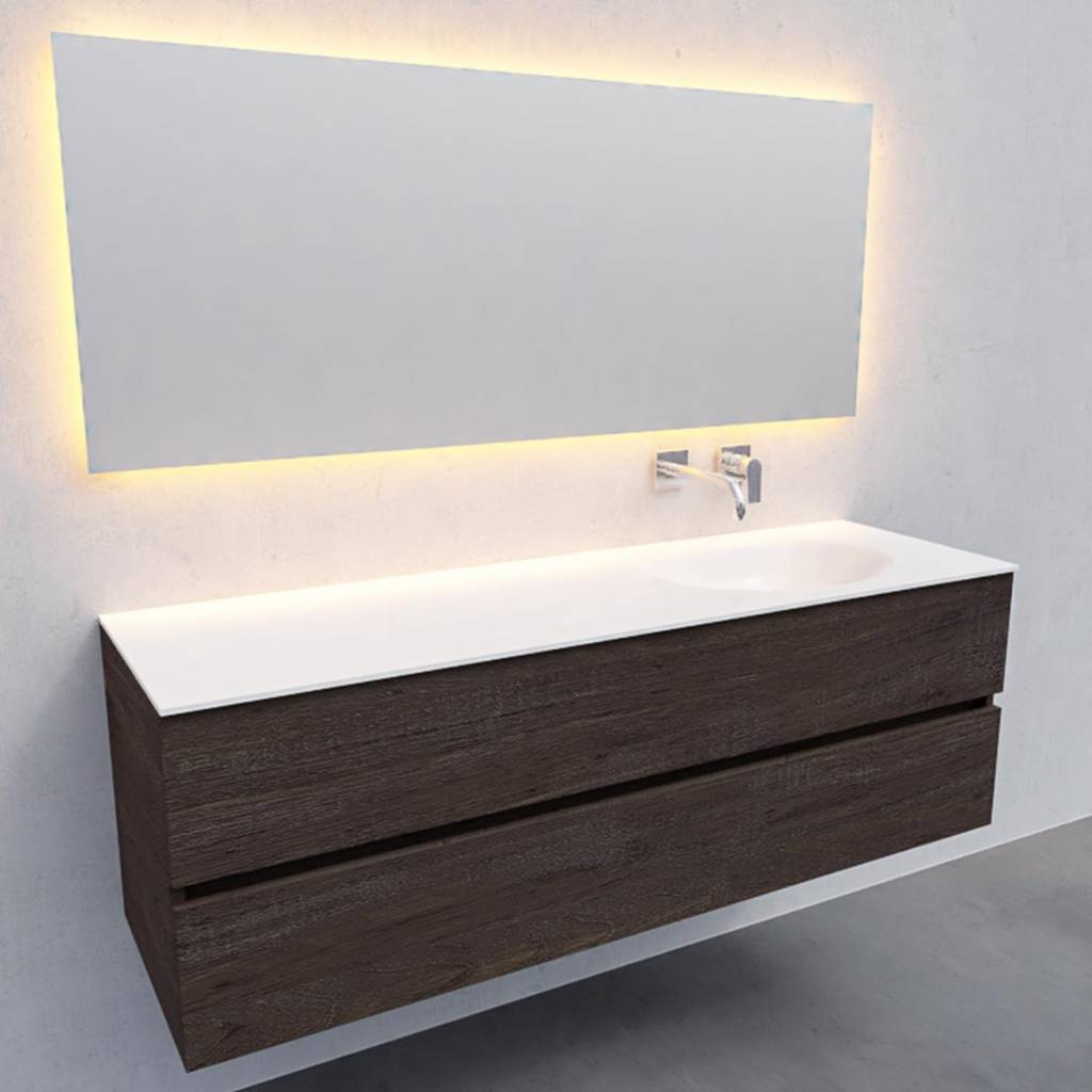 badkamermeubel compleet Solid Surface AQS Stockholm 150x46 cm Rechts Wood Dark Brown Boss & Wessing