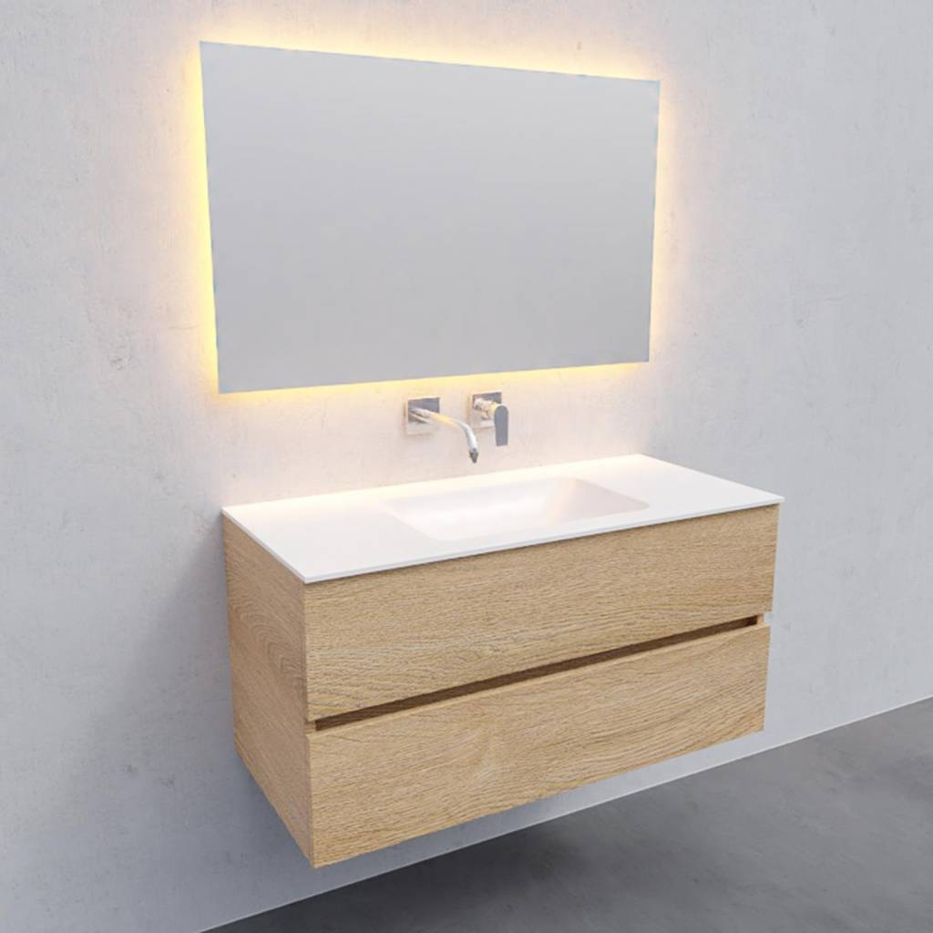 badkamermeubel compleet Solid Surface AQS Oslo 100x46 cm Midden Wood Washed Oak Boss & Wessing
