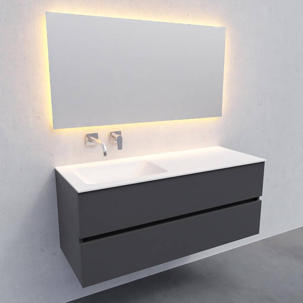 badkamermeubel compleet Solid Surface AQS Oslo 120x46 cm Links Mat Antraciet Boss & Wessing