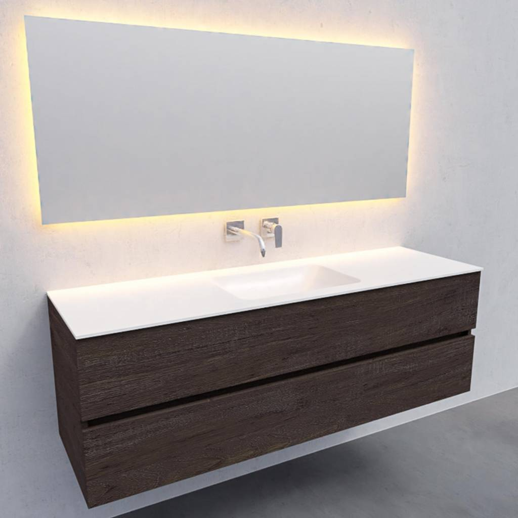 badkamermeubel compleet Solid Surface AQS Oslo 150x46 cm Midden Wood Dark Brown Boss & Wessing