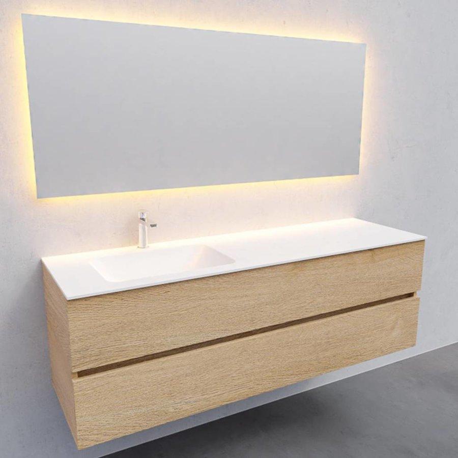 Badkamermeubel Solid Surface AQS Oslo 150x46 cm Links Wood Washed Oak (met 1 kraangat)