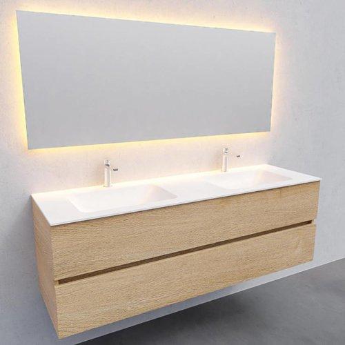 Badkamermeubel Solid Surface AQS Oslo 150x46 cm Dubbel Wood Washed Oak (2 kraangaten)