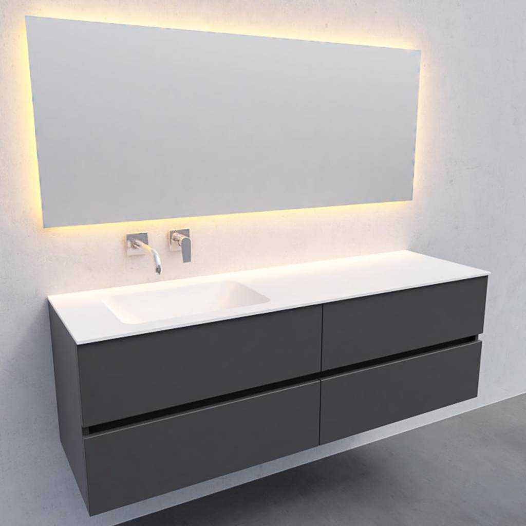 Badkamermeubel Solid Surface AQS Oslo 150x46 cm Links Mat Antraciet 4 Laden Boss & Wessing