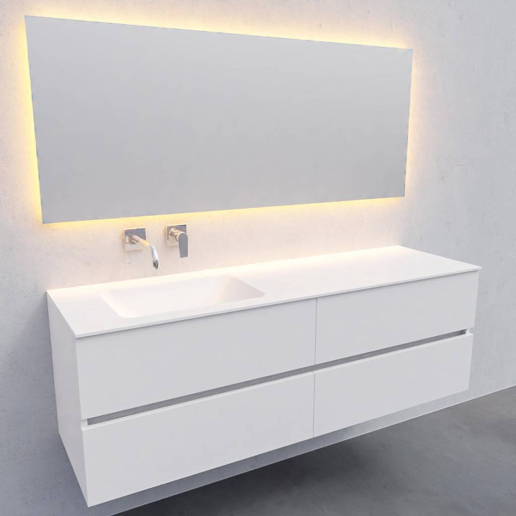badkamermeubel met spiegel Solid Surface AQS Oslo 150x46 cm Links Mat Wit 4 Laden Boss & Wessing