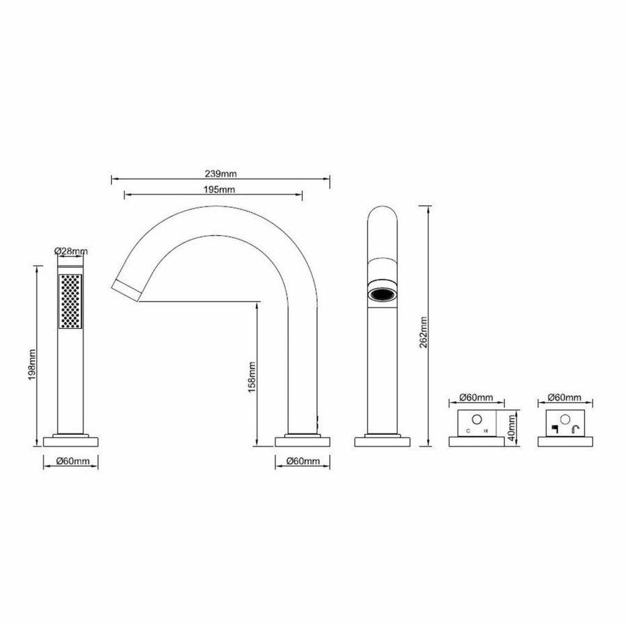 AQS Badrandkraan Cemal 4-gats Thermostatisch Afbouwset Mat Zwart