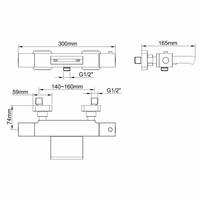 AQS Badmengkraan Rodos Waterval Thermostatisch Vierkant Mat Zwart