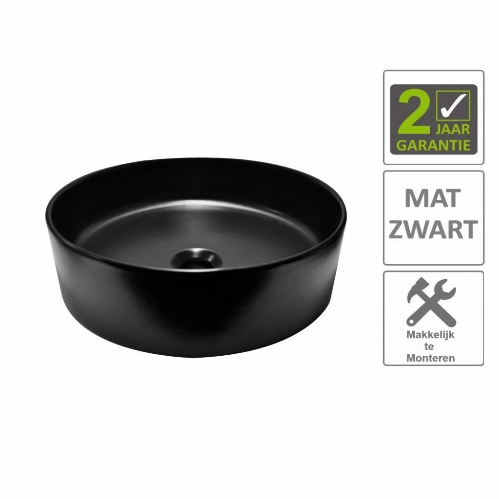 AQS Waskom Mono Opzet Model Rond Diameter 40 cm Mat Zwart Boss & Wessing