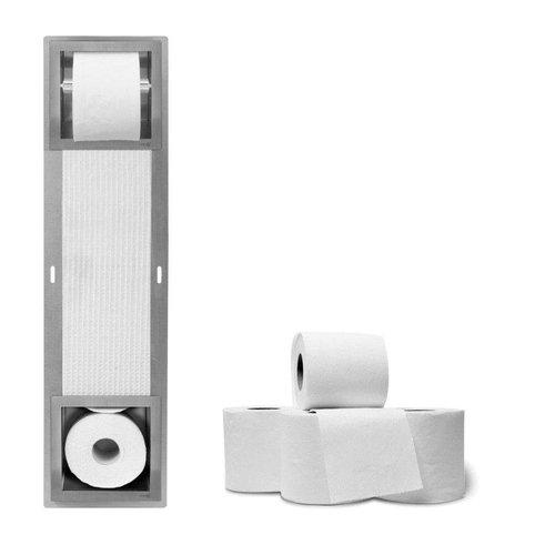 Inbouw Toiletrolhouder LoooX Closed CL5 Met Reserverolhouder RVS
